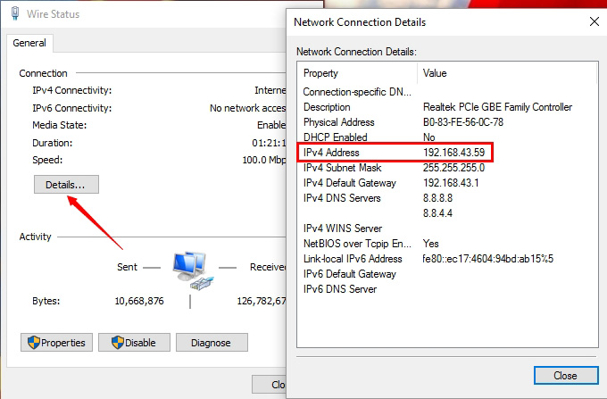 Get PC Network IP
