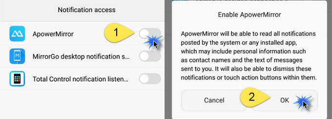 enable ApowerMirror Notification