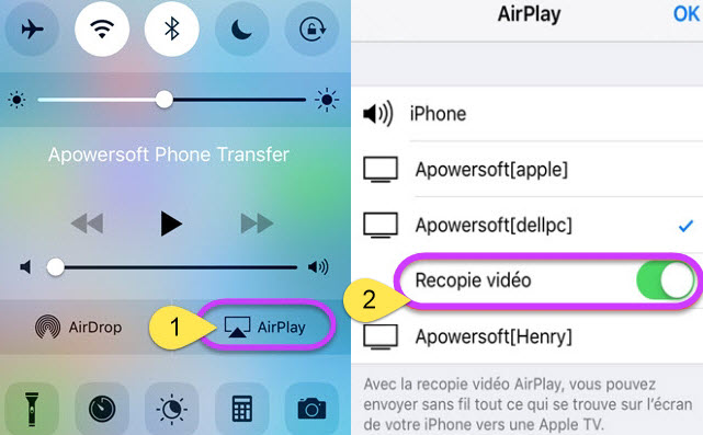 connecter AirPlay sur iPhone