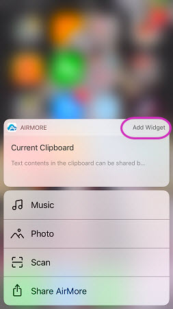 add Airmore widget