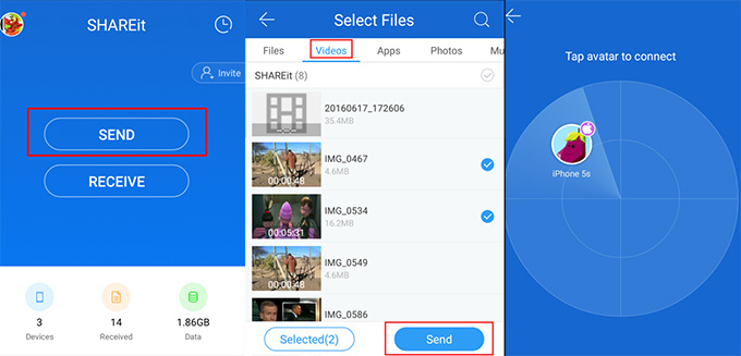 Android connects iPhone with SHAREit