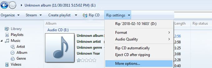 Windows Media Player Rip Settings