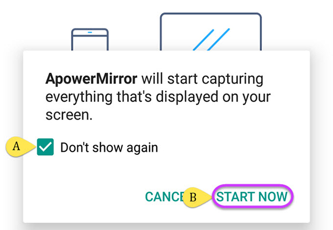 begin the mirroring process in apowermirror