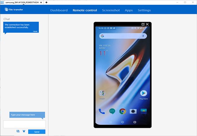 use teamviewer app to mirror oneplus 6t to computer